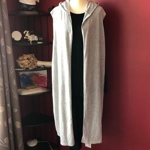 ROUGE COLLECTION HEATHER GRAY HOODED LONG VEST